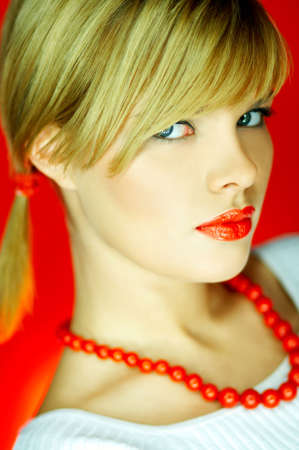 Portrait of attractive beautiful young sexy woman red necklace Stock Photo - 610652