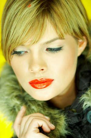 Portrait of beautiful woman wearing hooded winter jakcet Stock Photo - 610671