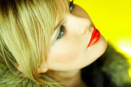Portrait of beautiful woman wearing hooded winter jakcet Stock Photo - 610665
