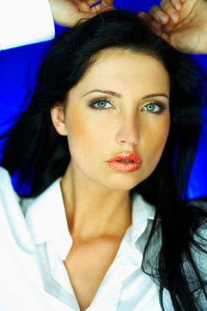 gorgeus: Portrait of beautiful woman wearing white shirt Stock Photo