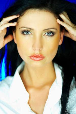 Portrait of beautiful woman wearing white shirt Stock Photo - 640134