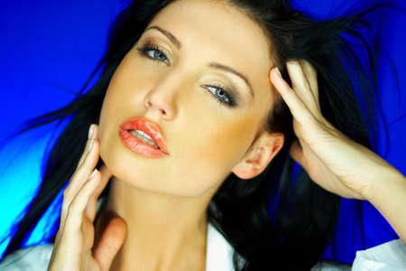 Portrait of beautiful woman wearing white shirt Stock Photo - 640132