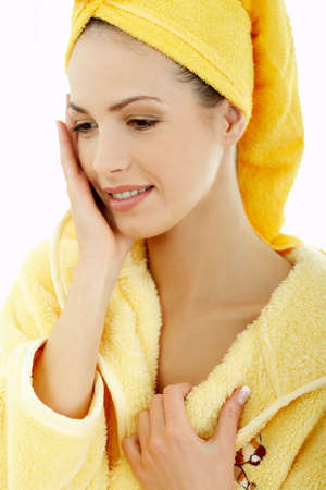 Portrait of Fresh and Beautiful brunette woman wearing white towel on her head Stock Photo - 707642