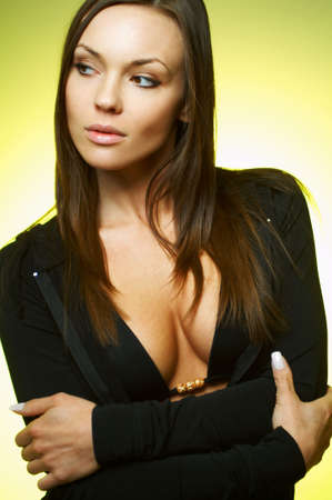 Portrait of beautiful young sexy brunette woman  Stock Photo - 909205