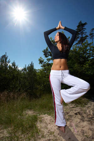 center position: 20-25 years old woman during fitness, outdoor