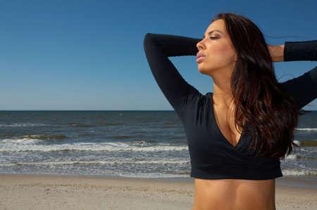 brunete: 20-25 years old Beautiful Woman on the beach Stock Photo