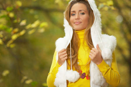 20-25 years old beautiful sexy woman portrait in natural autumn outdoors Stock Photo - 1830243