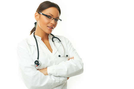 sexy female doctor: 20-25 years old beautiful female doctor isolated on white Stock Photo