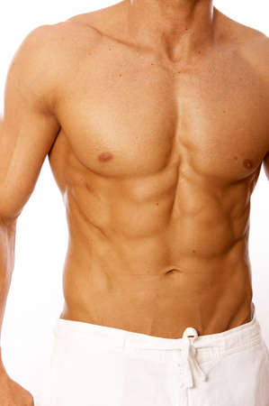 Muscular and tanned male torso isolated on white