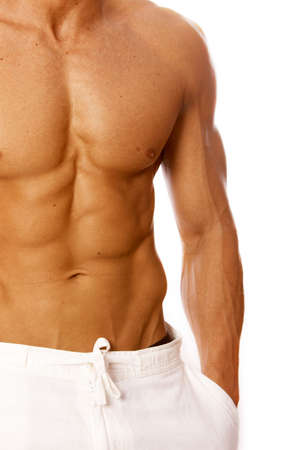 body built: Muscular and tanned male torso isolated on white
