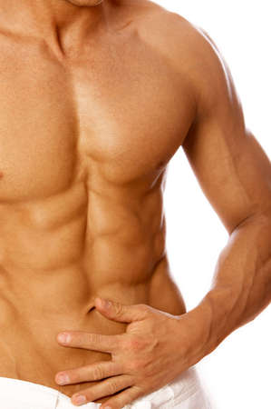 wit ondergoed: Gespierd en gelooide mannelijke torso geïsoleerd op wit