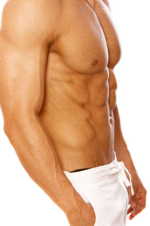body built: Muscular and tanned male isolated on white Stock Photo