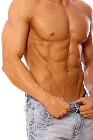 male chest: Muscular and tanned male isolated on white Stock Photo