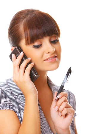 Beautiful business woman is using mobile telephone Stock Photo - 3232712