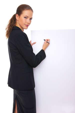ad: Beautiful business woman holding empty white board