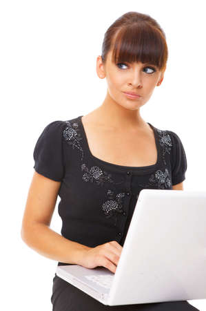 Portrait of beautiful business woman with laptop  photo