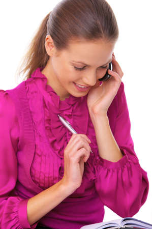 Beautiful business woman is using mobile telephone Stock Photo - 3344570