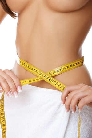femme se deshabille: Femme partie du corps est mesur�e
