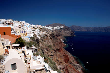 Wonderful view of City buildings and bay on Santorini, Greece photo