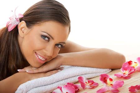Portrait of beautiful woman before spa treatment Stock Photo