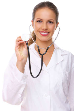stethoscope girl: 20-25 years old beautiful female doctor isolates on white