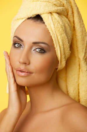 rejuvenating: Portrait of 20-25 years old beautiful woman wearing towel on her head