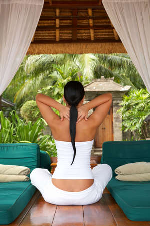 20-25 years woman portrait during yoga at exotic surrounding, bali indonesia