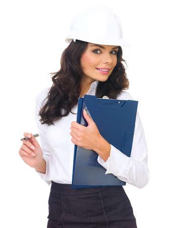 Portrait of beautiful architect woman isolated on white photo