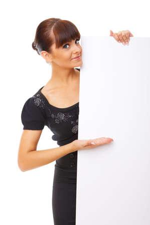 Beautiful business woman holding empty white board Stock Photo - 3794051