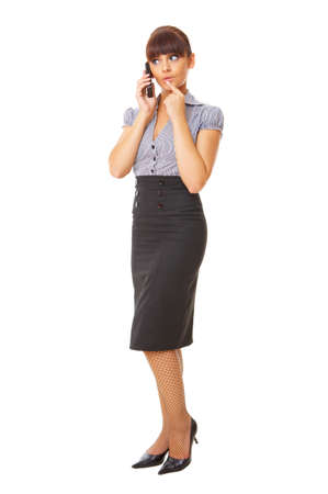 phone professional: Beautiful business woman is using mobile telephone Stock Photo