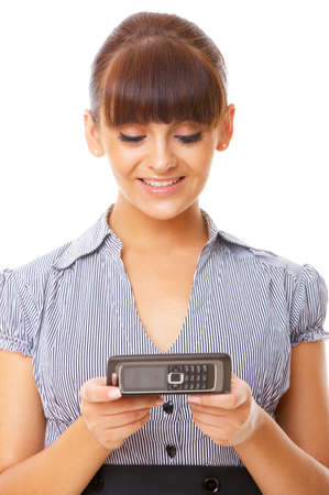 Beautiful business woman is using mobile telephone Stock Photo - 3788461