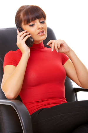 Beautiful business woman is using mobile telephone Stock Photo - 3794176