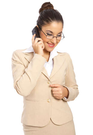 Business woman is talking cell phone, isolated photo