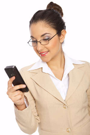 Business woman is writing message on phone, isolated photo