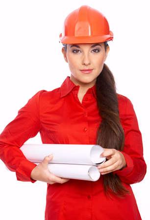 Female architect holding blueprints, isolated on white photo