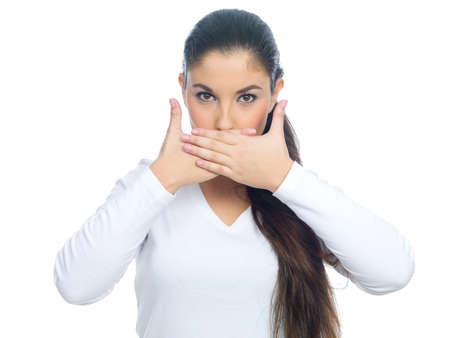 nice looking: Portrait of a nice looking woman closing her mouth Stock Photo