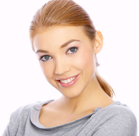 nice looking: Portrait of a nice looking woman isolated on white, smiling Stock Photo