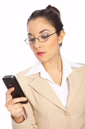 Business woman is writing text message on mobile phone photo