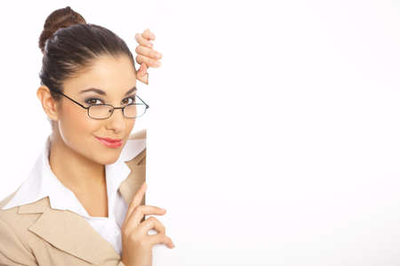 Smiling business woman holding an empty white board Stock Photo - 3952299
