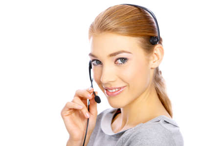 Beautiful girl is using headset, she isolated on white Stock Photo - 4096955