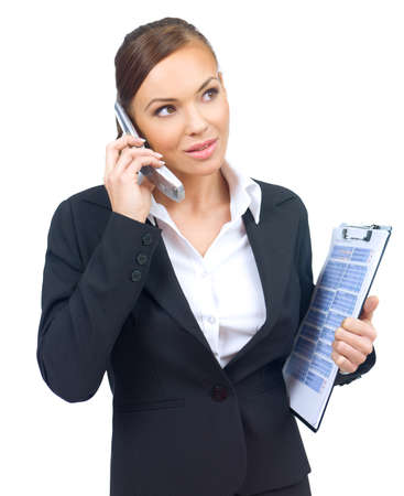 Beautiful and young business woman is talking mobile phone Stock Photo - 4135514