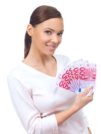 nice looking: Portrait of a nice looking woman holding bunch of banknotes Stock Photo