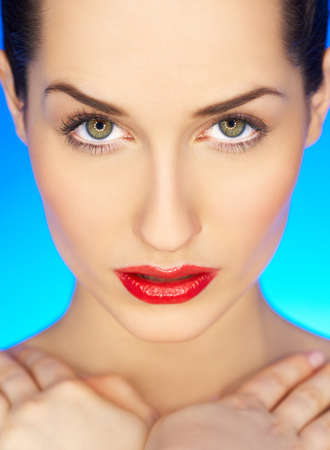 Portrait of beautiful woman with red lipstick Stock Photo - 4248830