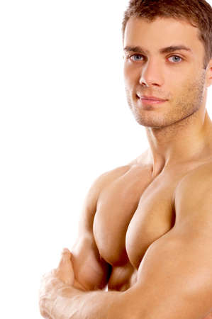 Muscular and tanned male isolated on white Stock Photo