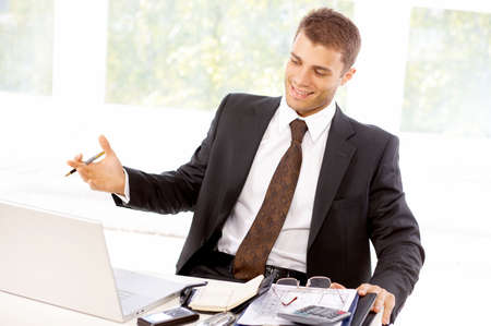 Young business man working in the office Stock Photo - 4752606
