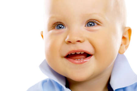 Portrait of sweet little baby boy on white background photo