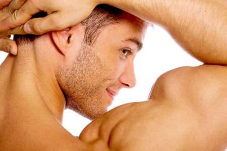 modelos hombres: Muscular y curtidos hombres con tatuaje aislados en blanco Foto de archivo