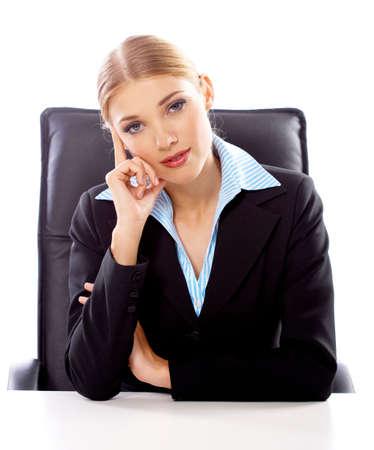 Portrait of Beautiful business woman on white background photo