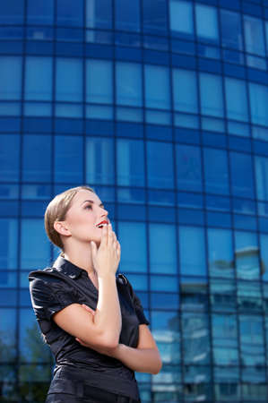 Beautiful business woman standing outdoor modern building Stock Photo - 5443435