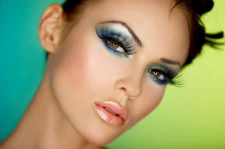 eyeshadows: Portrait of sexy woman with outstanding makeup Stock Photo